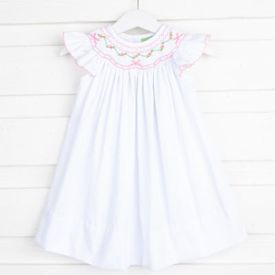 Light Pink Geometric Smocked Dress White Pique