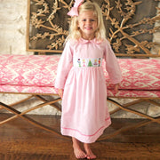 Long Sleeve Nutcracker Smocked Dress Pink Micro Gingham