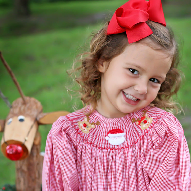 Long Sleeve Santa & Reindeer Smocked Bishop Red Gingham
