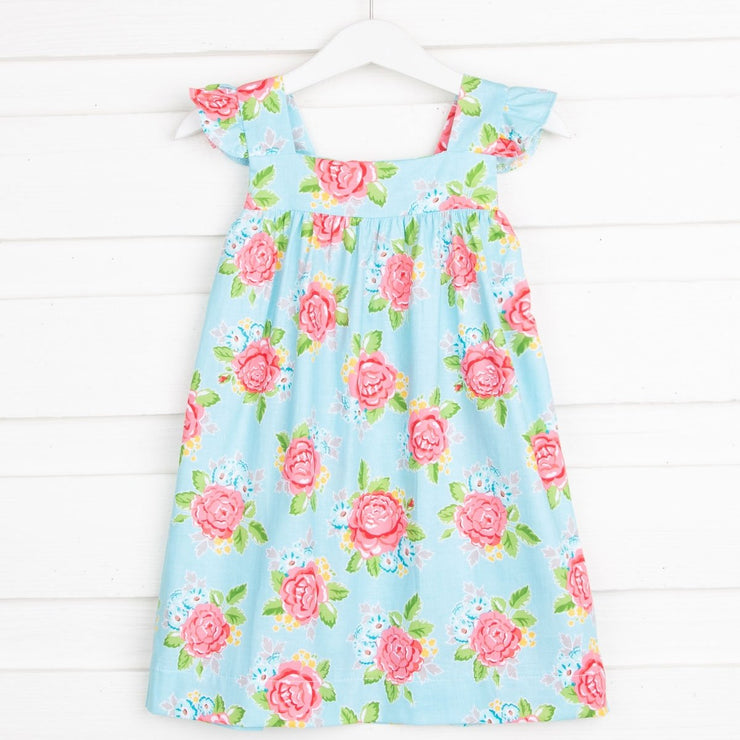 Lovely Floral Amy Dress Blue and Coral