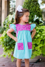 Magenta Embroidered Mint Gingham Dress