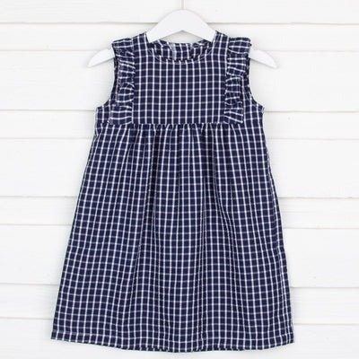 Marine Kate Dress Navy Windowpane Seersucker
