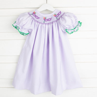 Mask Smocked Bishop Lavender Stripe