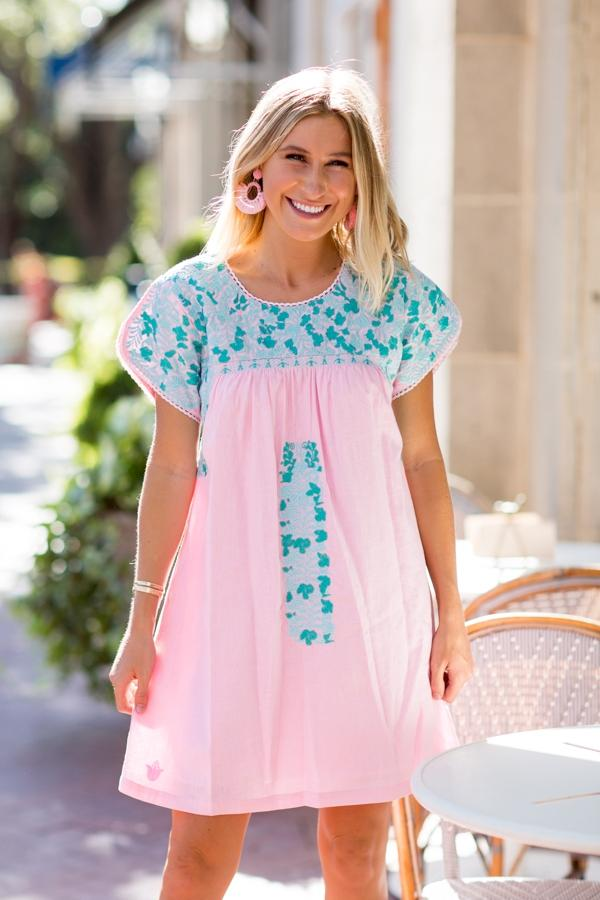 Mint Embroidered Solid Pink Mom Dress