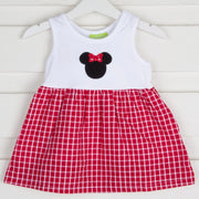 Mouse Ears Bow Back Dress Red Plaid Seersucker