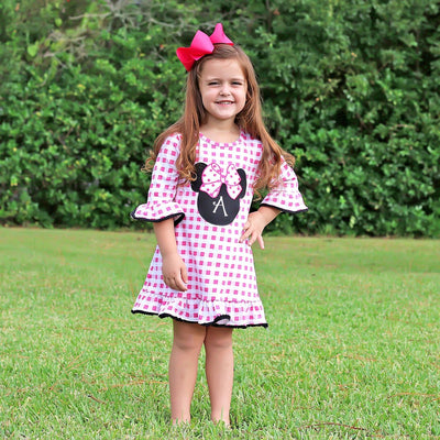 Mouse Ears Ruffle Knit Dress Hot Pink Check