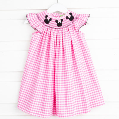 Mouse Ears Smocked Angel Sleeve Dress Hot Pink Check