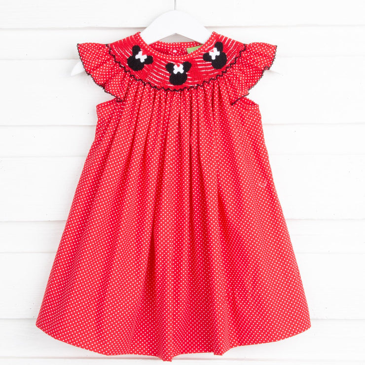 Mouse Ears Smocked Angel Sleeve Dress Red and White Dot