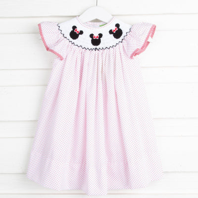 Mouse Ears Smocked Angel Sleeve Dress Red Dot