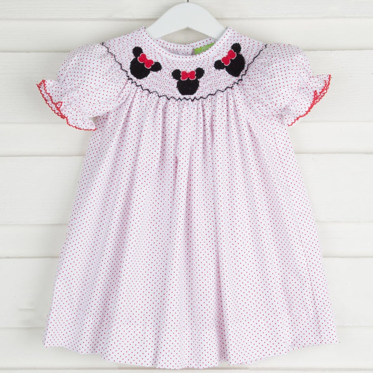 Mouse Ears Smocked Bishop White and Red Polka Dot