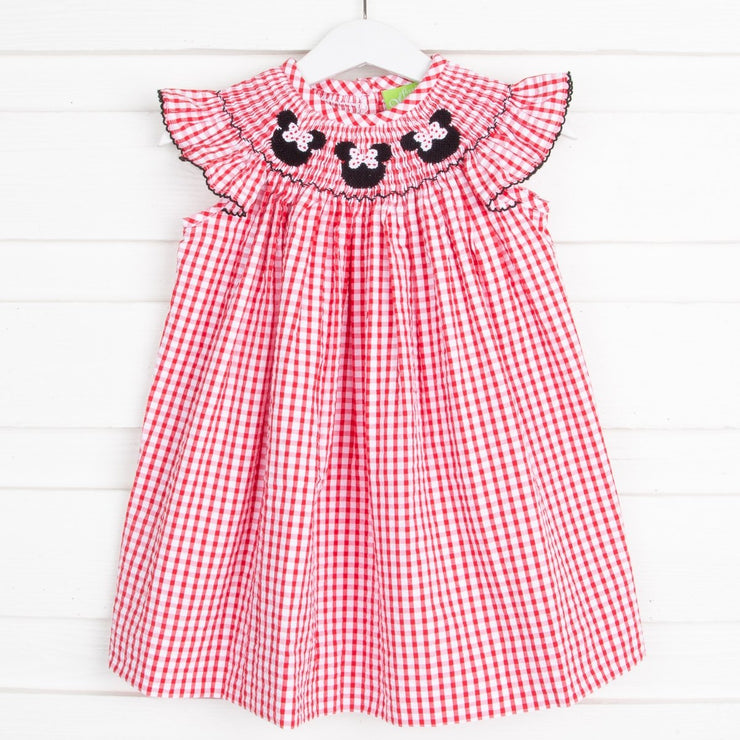 Mouse Ears Smocked Dress Red Check Seersucker