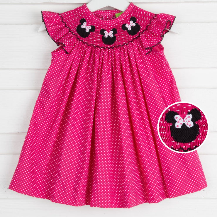 Mouse Ears Smocked Hot Pink Polka Dot Dress