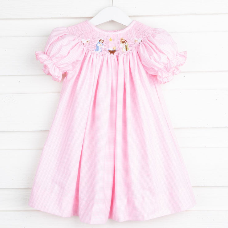 Nativity Scene Smocked Bishop Light Pink Gingham