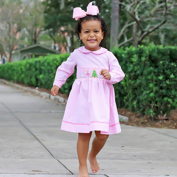 Nutcracker Smocked Long Sleeve Dress Light Pink
