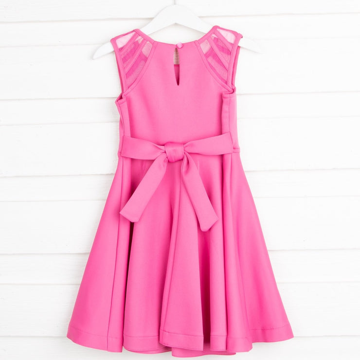Open Shoulder Skater Dress Pink