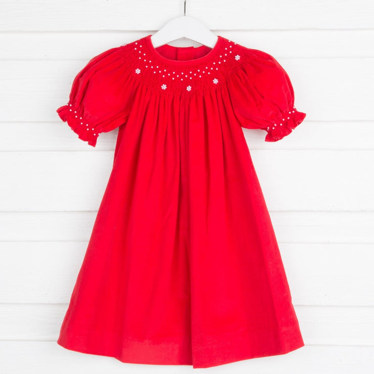 Pearl Smocked Bishop Red Corduroy