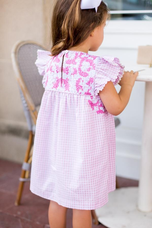 Pink and White Embroidered Pink Gingham Dress