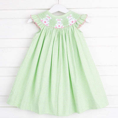 Pink Bunny Smocked Dress Green Seersucker