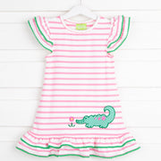 Pink Stripe Alligator Ruffle Dress