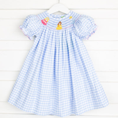 Princess Smocked Bishop Light Blue Check