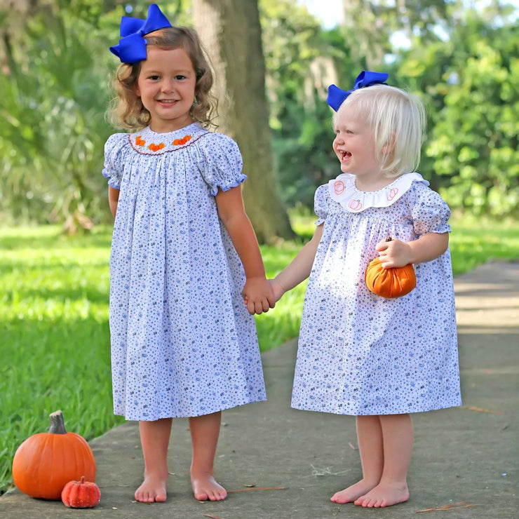 Pumpkin Embroidered Holly Dress Classic Floral Blue