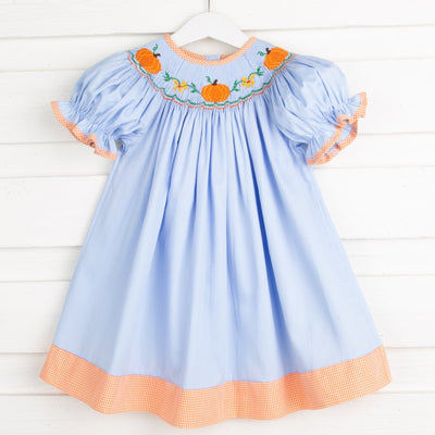 Pumpkin & Flower Smocked Bishop Light Blue