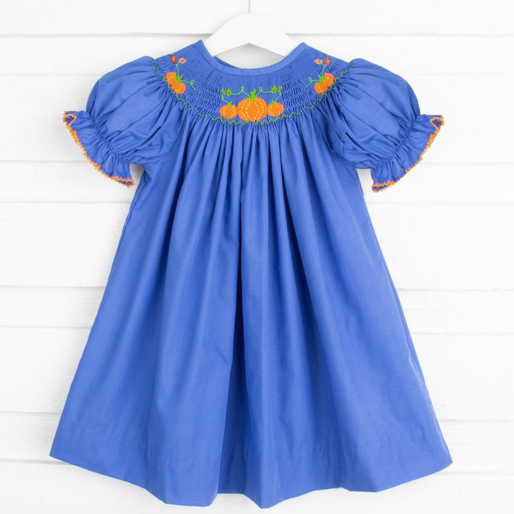 Pumpkin Patch Smocked Bishop Royal Blue