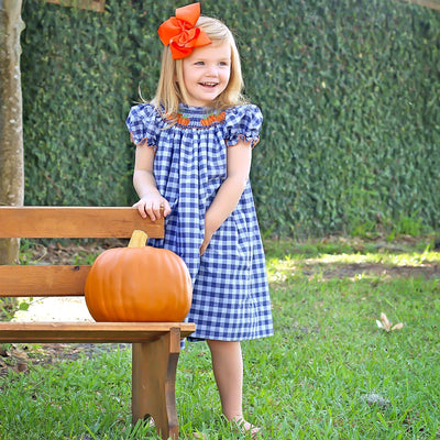 Pumpkin Patch Smocked Bishop Two Toned Blue Plaid