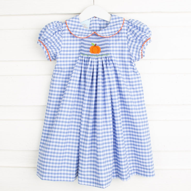 Pumpkin Single Smocked Collared Dress Light Blue Check