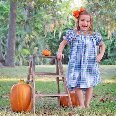 Pumpkin Smocked Bishop Blue and Green Plaid