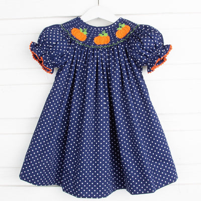 Pumpkin Smocked Bishop Navy Dot