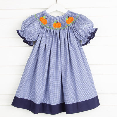 Pumpkin Smocked Bishop Navy Gingham