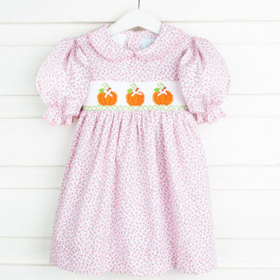 Pumpkin Smocked Dress Pink Floral