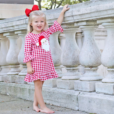 Red Knit Gingham Santa Face Ruffle Dress