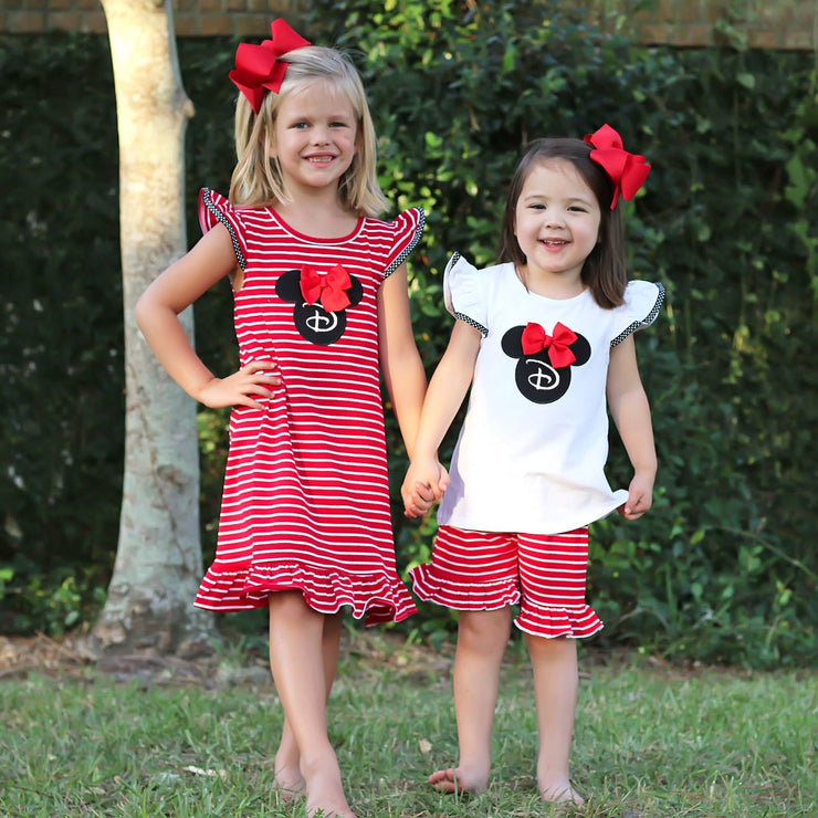 Red Mouse Ears Applique Dress Knit Stripe