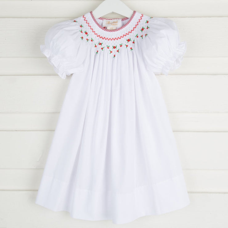 Rosette Geometric Smocked Bishop White