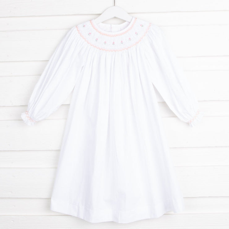 Rosette Geometric Smocked Long Sleeve Dress White