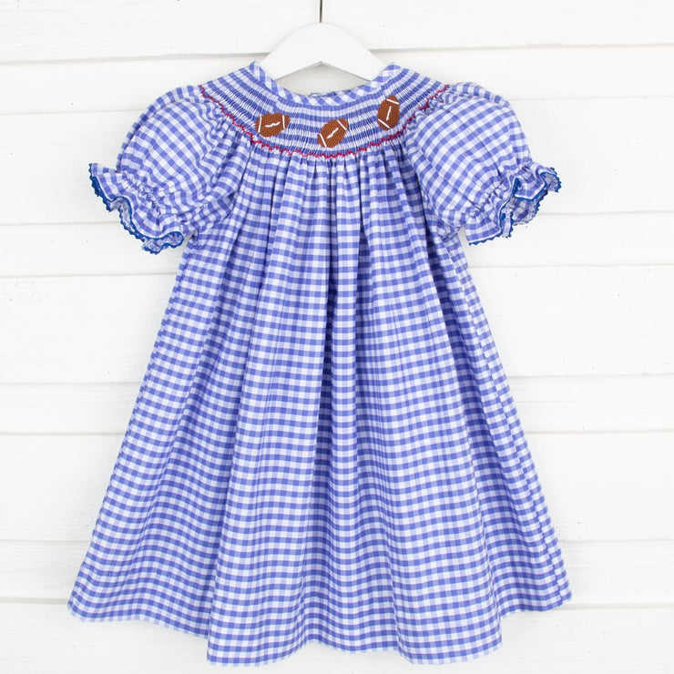 Royal Check Football Smocked Bishop