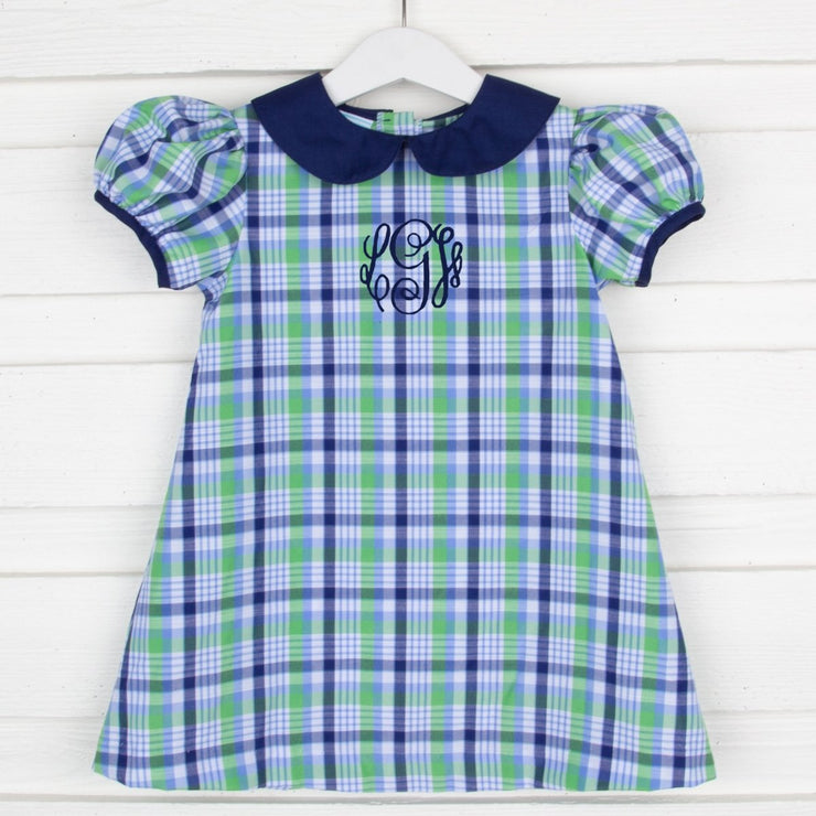 Sally Dress Cambridge Plaid Navy and Green