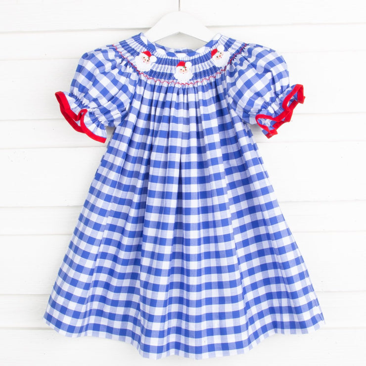 Santa Face Smocked Bishop Royal Blue Check