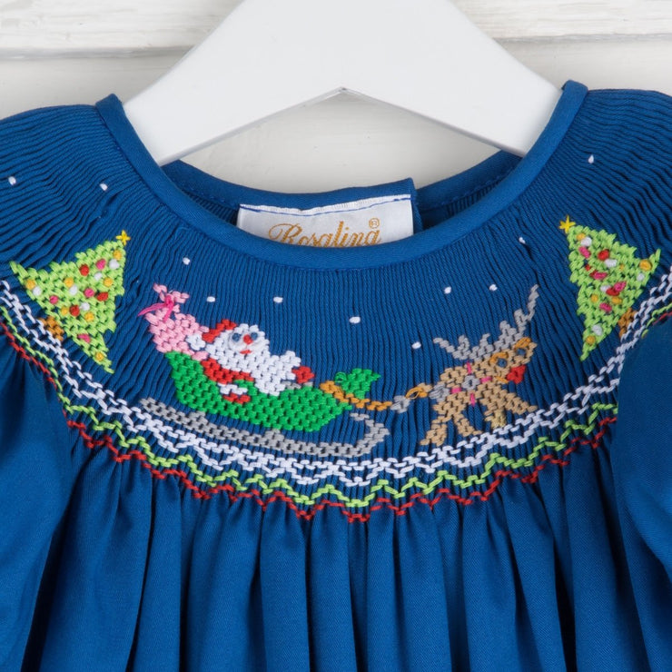 Santa Sleigh Smocked Bishop Royal Blue