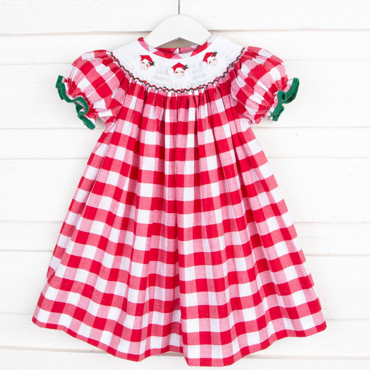 Santa Smocked Bishop Red Check
