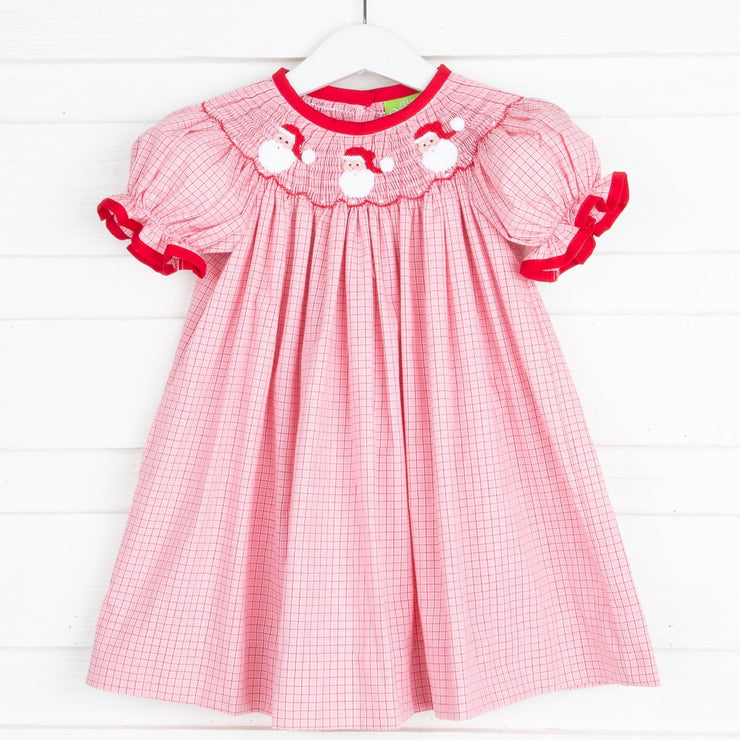 Santa Smocked Bishop Salmon Plaid