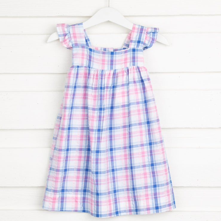 Seaside Plaid Amy Dress Blue and Pink