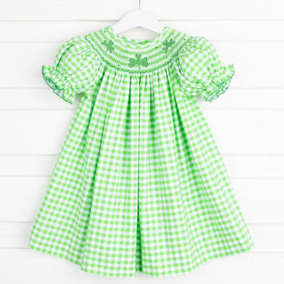 Shamrock Smocked Bishop Green Gingham