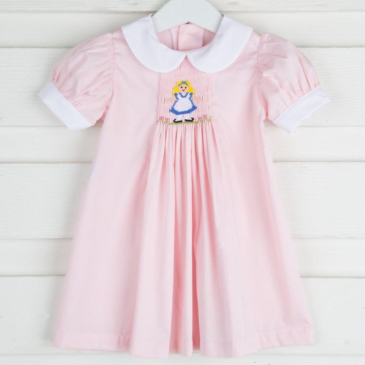 Single Smocked Alice Dress Light Pink Pique