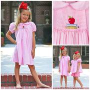Single Smocked Back to School Dress Pink Gingham