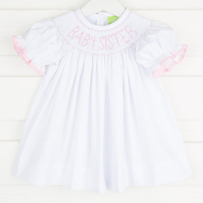 Smocked Baby Sister Dress White