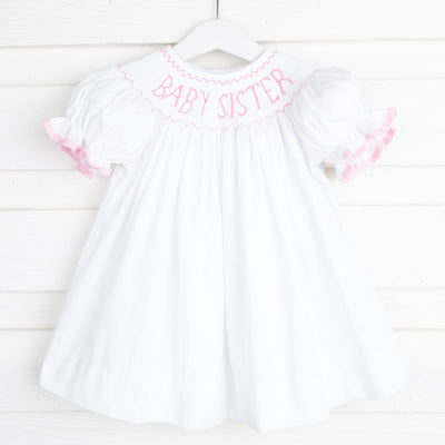 Smocked Baby Sister Dress White Pique