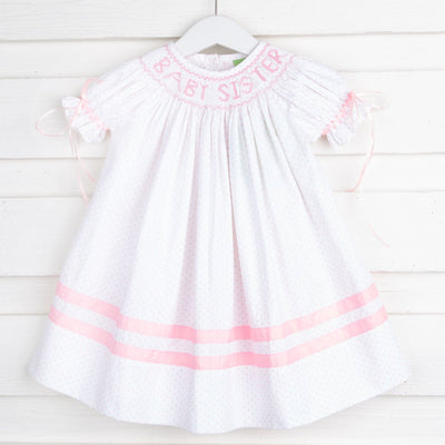 Smocked Baby Sister with Bows Bishop Pink Polka Dot